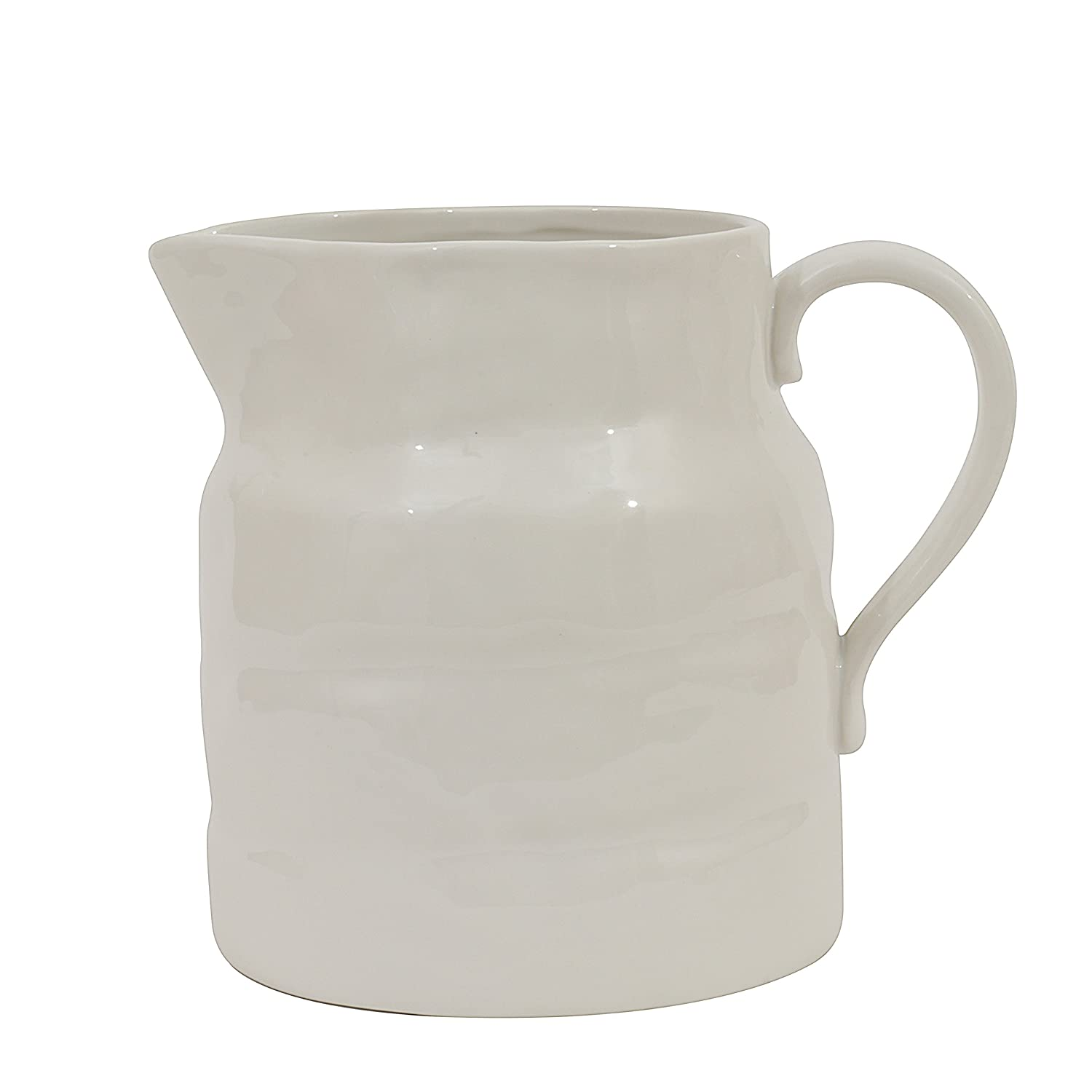 White vintage style stoneware pitcher for French farmhouse kitchens and European country decorating and interior design.