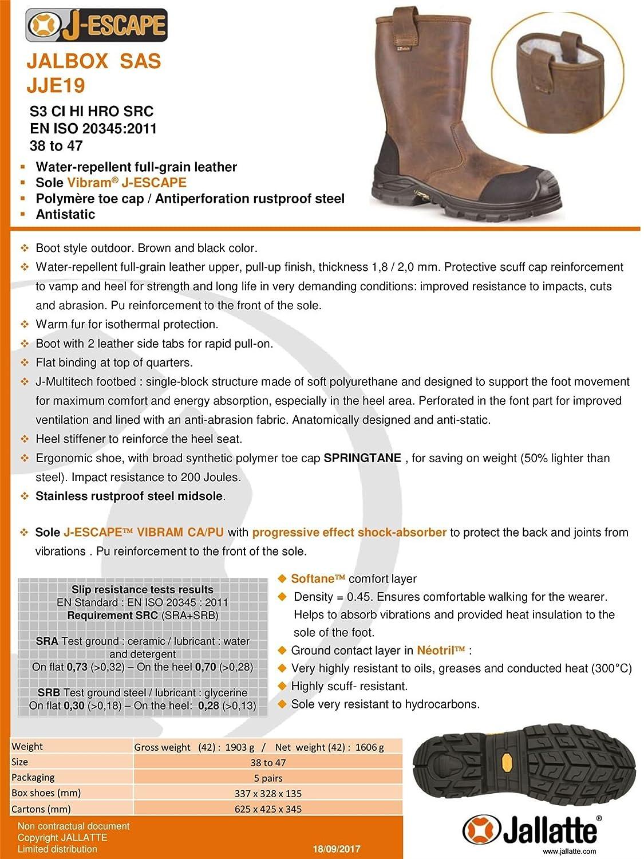 3587ad5f5581b4 Jallatte Botte de sécurité Cuir fourré JALBOX SAS en 345-1 S3 CI HRO SRC:  Amazon.fr: Chaussures et Sacs