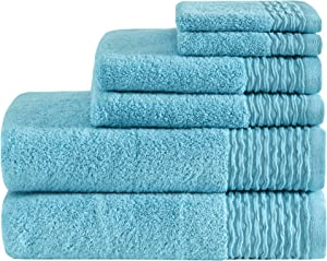 Madison Park Breeze Jacquard Wavy Border Zero Twist Cotton Towel Set, 28x52, Blue
