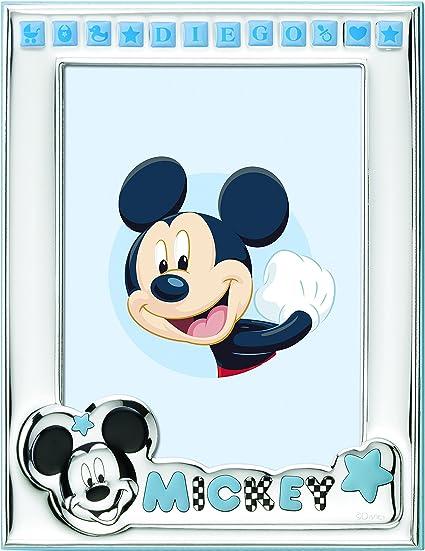Disney Cadre Photo Mickey Mouse A Poser Plaque Argent Personnalisable Avec Le Nom Du Bebe Facile A Utiliser Amazon Fr Cuisine Maison