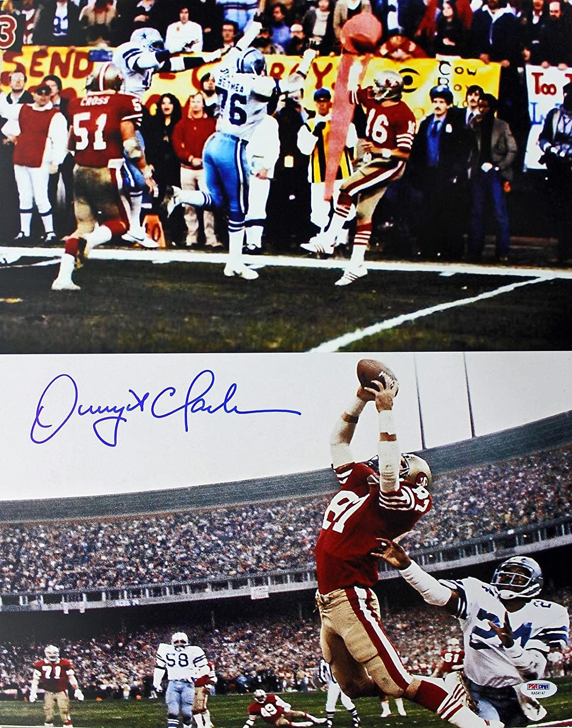"49ers Dwight Clark Signed 16X20 ""The Catch"" Photo w/ Montana - PSA/DNA  Certified - Autographed NFL Photos at Amazon's Sports Collectibles Store"