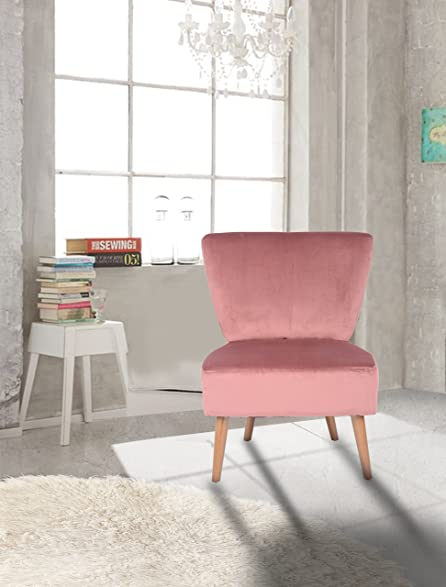Amazon.com: Rose Velvet Accent Chair Lounge Living Bedroom Room with ...