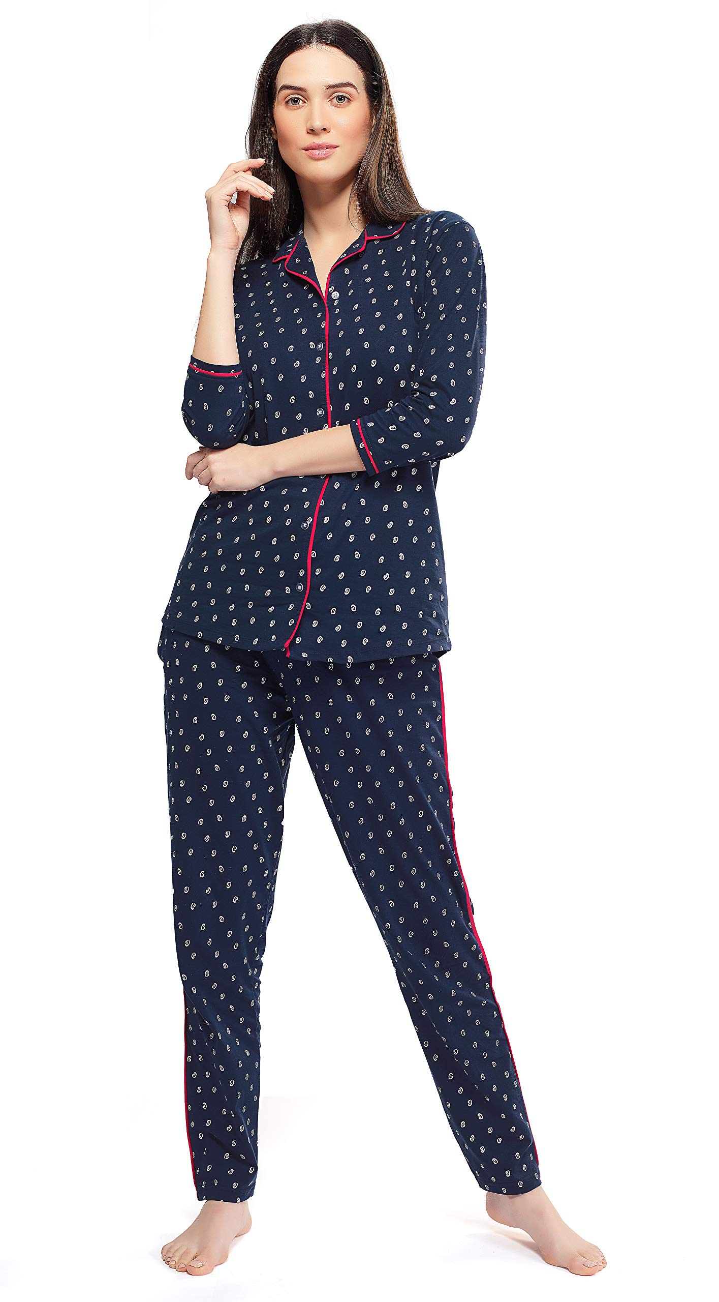 ZEYO Women's Cotton Navy Blue & Pink Unique Print Night Suit Set