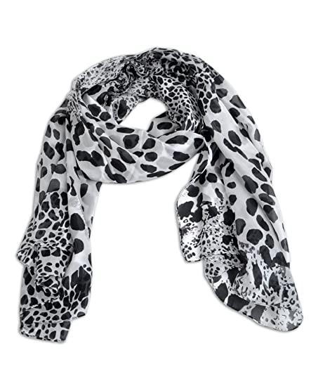 Womens black white animal print scarf
