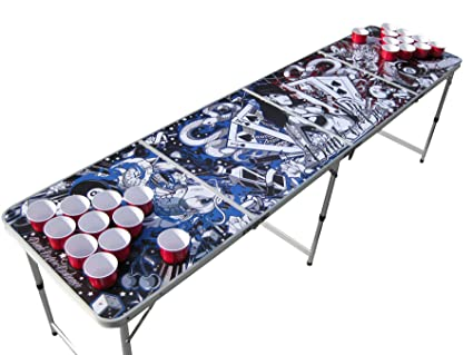 Amazon.com: The Pong Squad tatuaje mesa de Beer Pong con ...