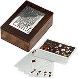 Scatole di legno artigianali per la conservazione - supporto di carte da gioco con la piattaforma di carta artigianale realizzati -11.4 x 8.9 x 3.8 cm