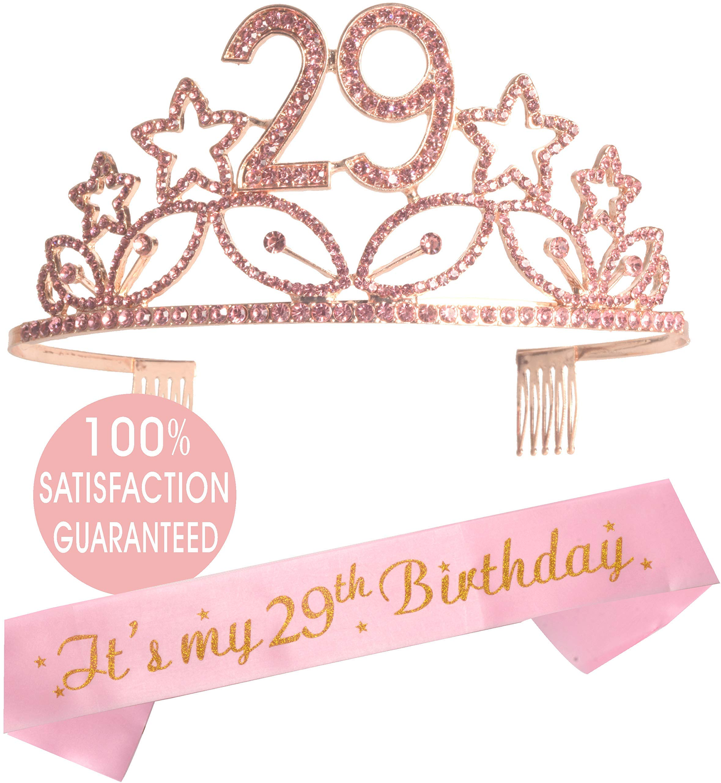 29th Birthday Tiara and Sash, Happy 29th Birthday Party Supplies, It's my 29th birthday Black Glitter Satin Sash and Crystal Tiara Birthday Crown for 29th Birthday Party Supplies and Decorations (Tiar by MEANT2TOBE