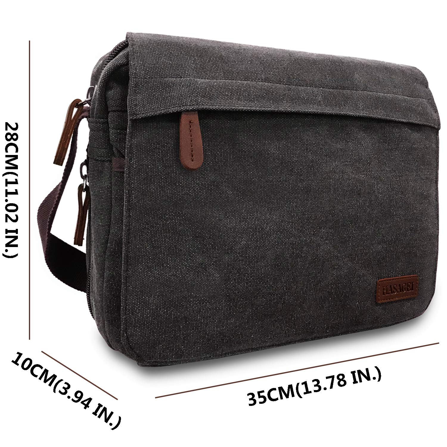 HASAGEI Men s Canvas Messenger Shoulder Bag Men s Messenger Bags Retro  Canvas Crossbody Bag Laptop Bag Satchel Bag Black  Amazon.co.uk  Shoes    Bags 287763bd0