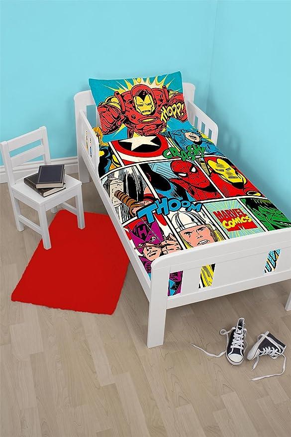 Marvel Comics huelga Junior Panel edredón + cama infantil colchón impermeable, 140 x 70 cm: Amazon.es: Hogar