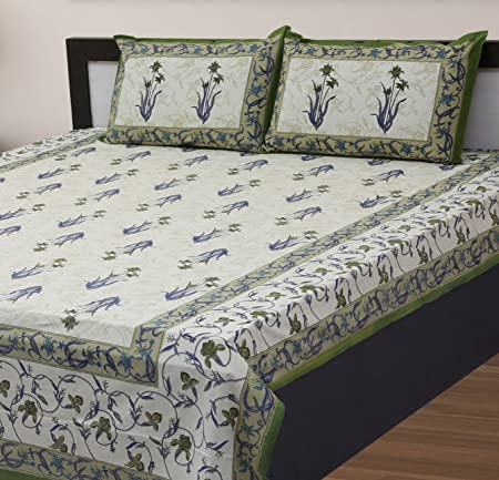 Vihaan Fab India Double Bedsheet Pure Cotton Rajasthani Print/Jaipuri Printed with 2 Pillow Covers,Size-(90 x 108 inch)  Multicolor