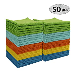 AIDEA Microfiber Cleaning Cloths Edgeless (Pack-50) All-Purpose Softer Highly Absorbent, Lint Free - Streak Free Wash Cloth for House, Kitchen, Car, Window, Stainless Steel