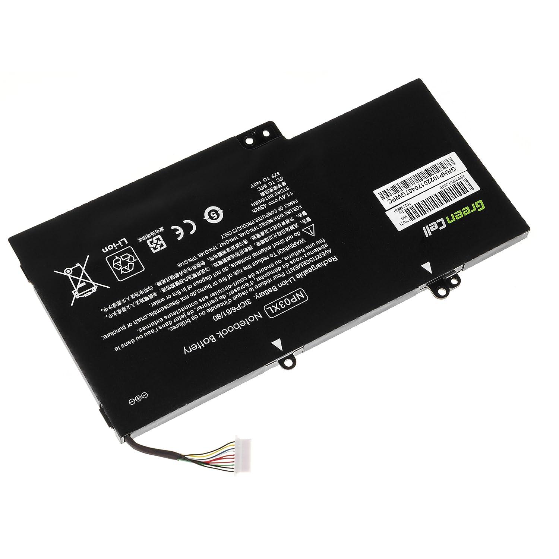 Green Cell/® NP03XL 760944-421 Bater/ía para HP Envy x360 15-U Pavilion x360 13-A 13-B Ordenador 3700mAh 11.4V Negro