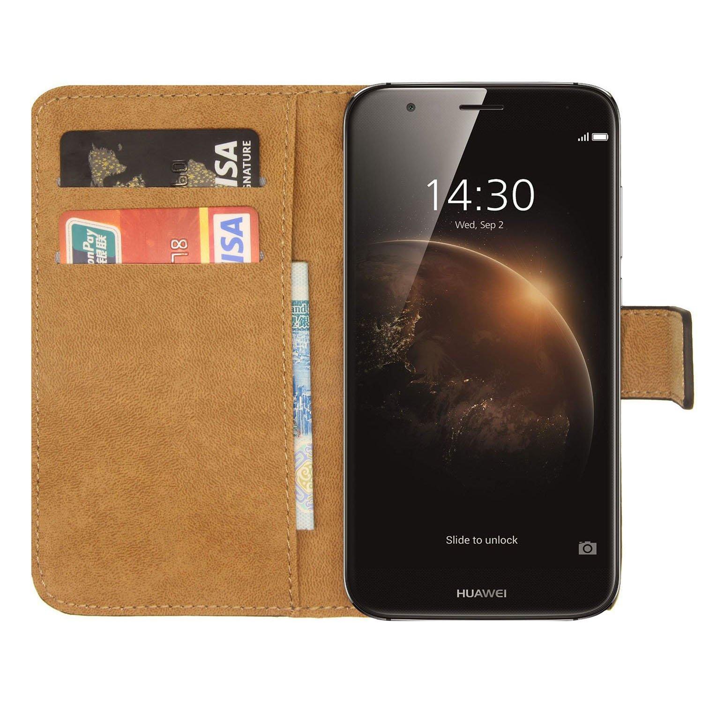 Ambaiyi Flip Funda de Cuero Genuina Piel con Tape Carcasa para Huawei GX8 , Huawei G8 Funda , Negro