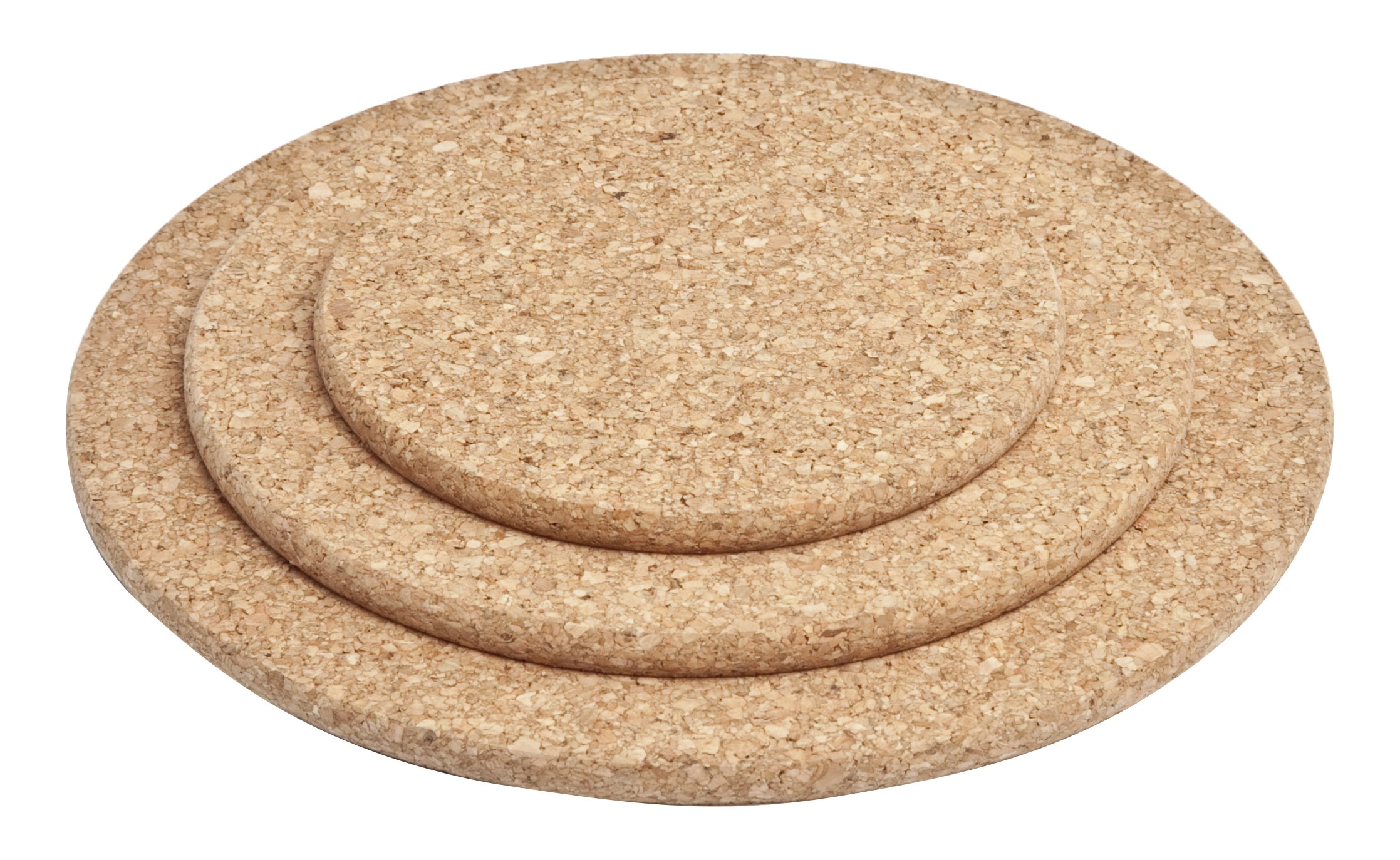 Cork Nature 490525 Cork Trivets, Round (Set of 3), 6'', 8'', and 10''