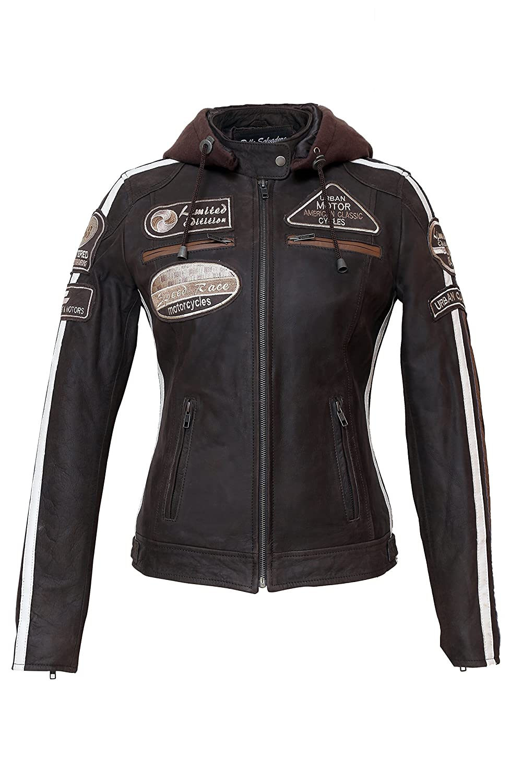Taglia 3XL Urban Leather UR-173 58 Giacca Moto da Donna con Imbottitura Protettiva Marrone
