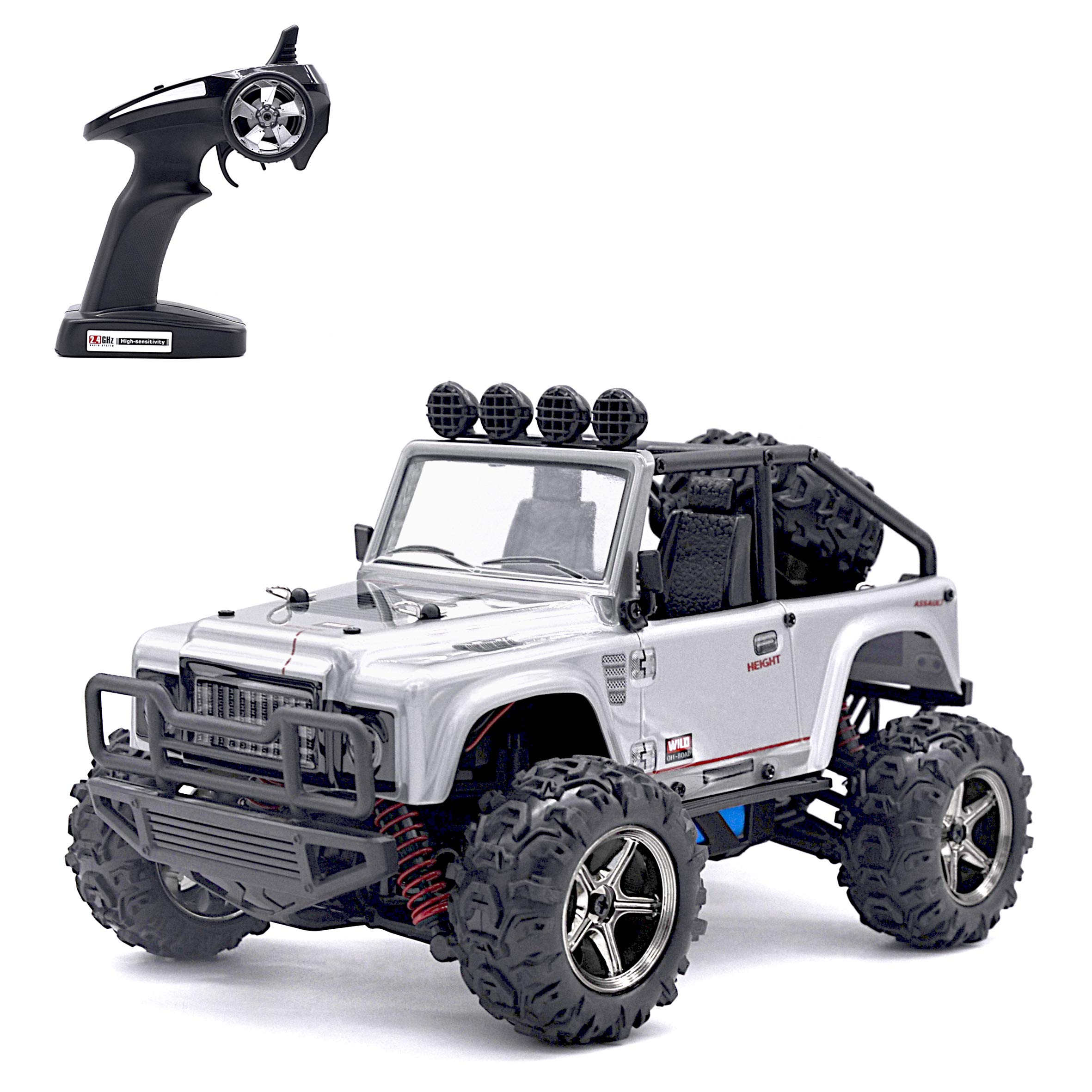 Keliwow 1/22 Scale 4WD Remote Control RC Jeep, 25Mph (40km/h) Monster High Speed Off-Road RC Truck, 2.4Ghz Electric Car with Independent Suspension and Lights Desert Road Buggy(Silver)