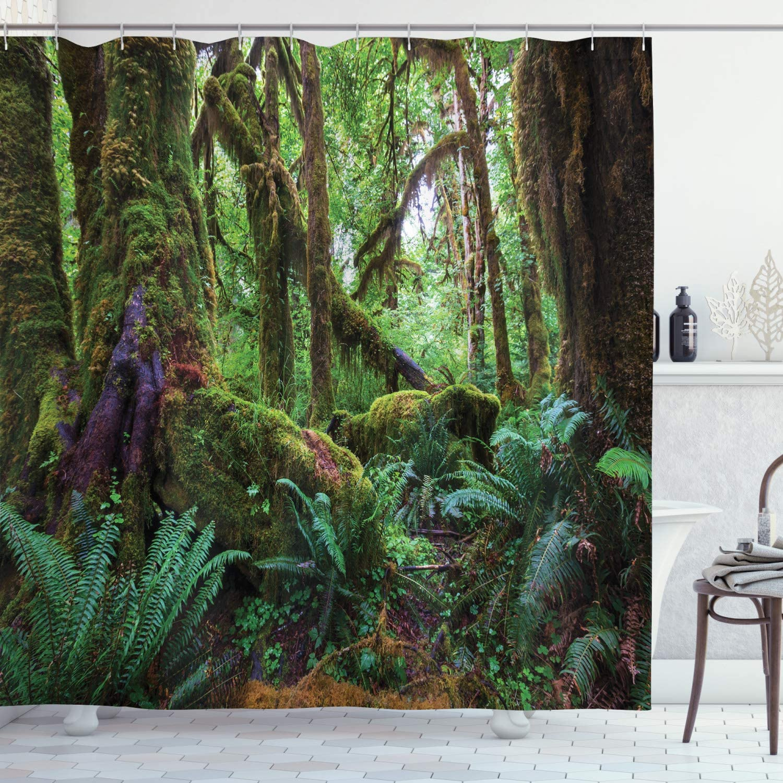 Ambesonne Jungle Shower Curtain, Monsoon Tropical Jungle Bushes Ferns Trees Vegetation Wilderness Land Scene, Cloth Fabric Bathroom Decor Set with Hooks, 70