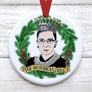 Wonder4 Ruth Bader Ginsburg Christmas Tree Ornament Merry Resistmas Comes with Satin Ribbon Notorious R B G Xmas Gift