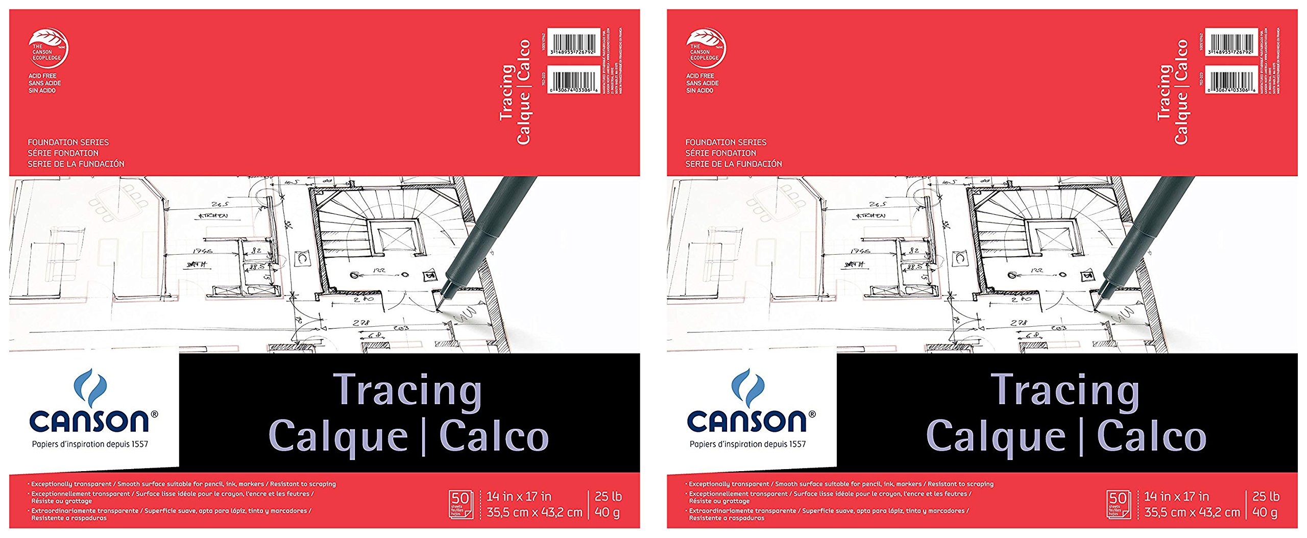 Canson Foundation Tracing Pad, 14''X17'' Fold Over Bound 2-Pack by Canson