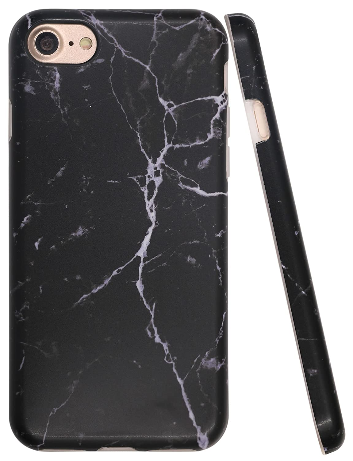 "Iphone 8 Black Case, Iphone 7 Case Marble Pattern, A Focus Stone Imd Anti Scratch Anti Finger Slim Fit Soft Flexible Rubber Cover Case For Iphone 7 / Iphone 8 4.7""   Matte Black by A Focus"