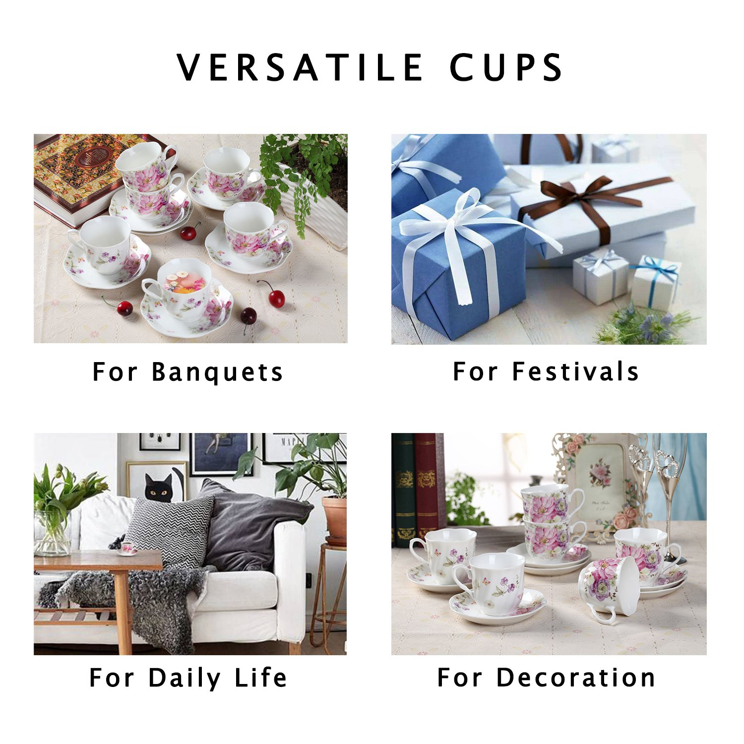 7OZ Coffee Cups and Saucers Set 6 PCS 220 ML Tea Cup Sets with Flower Painting Pattern New Bone China Porcelain Cups for Mocha Cappuccino