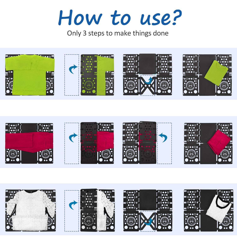 plieur de linge enfant adulte vetement chemise t-shirt tee shirts 57 x 70 cm noir BoxLegend Planche /à plier le linge