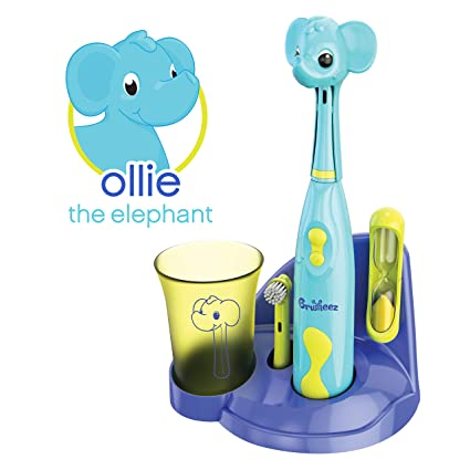 Brusheez Kid's Electric Toothbrush Set - Ollie the Elephant - New & Improved with Softer Bristles, Easy-Press Power Button, 2 Brush Heads, Cute Animal Cover, Sand Timer, Rinse Cup & Storage Base