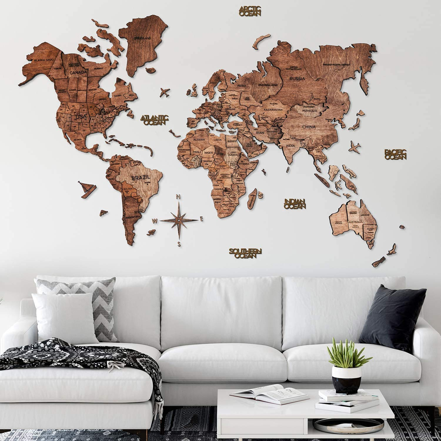 Home Decor 3D Wood World Map Wall Art Large Wall Decor - World Travel Map All Sizes (M L XL XXL) Any Occasion Gift Idea - Wall Art For Home & Kitchen or Office