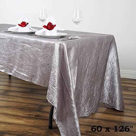 "1 pc Silver 60x126/"" RECTANGLE Satin TABLECLOTH Wedding Party Banquet Linens SALE"