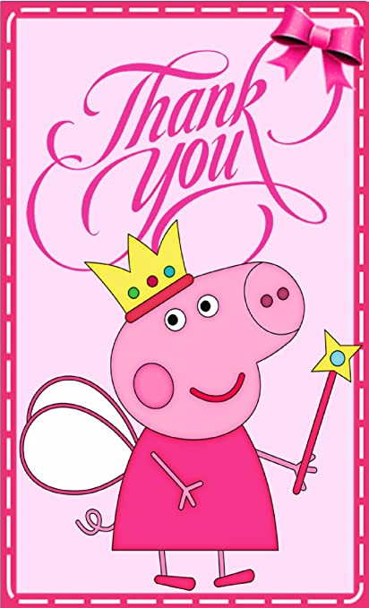 Peppa Pig Theme Thank You Tags 20 Pieces For Party Girls Birthday Cards Gifts Pack Of Awesome