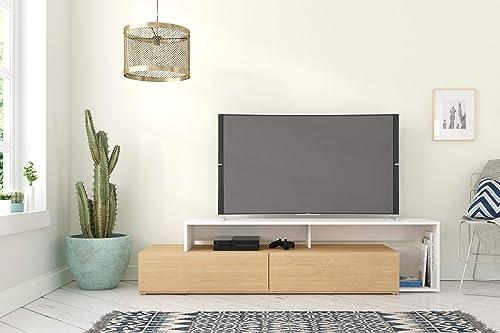 Nexera Tonik, Natural Maple White 72-inch TV Stand, Maple Laminate and White Melamine