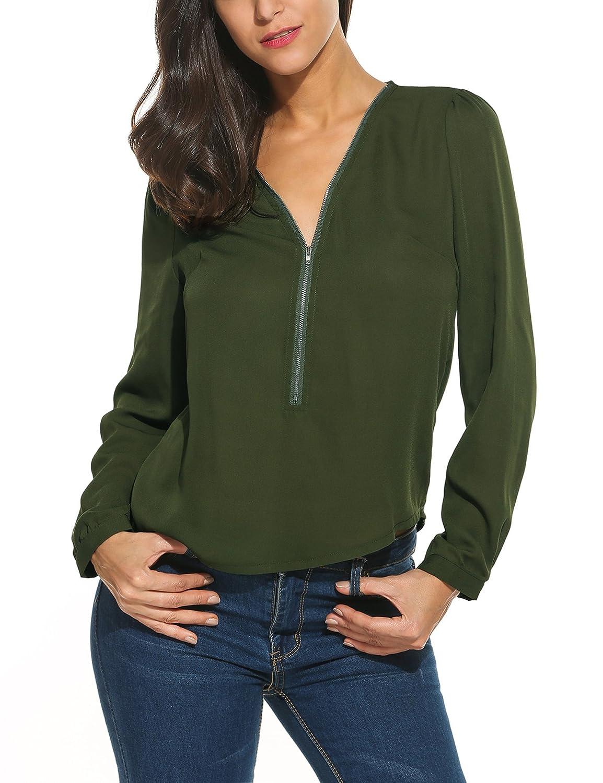 1edd513b935 Meaneor Women s Chiffon Long Sleeve V Neck Zipper Blouse Shirt cheap ...