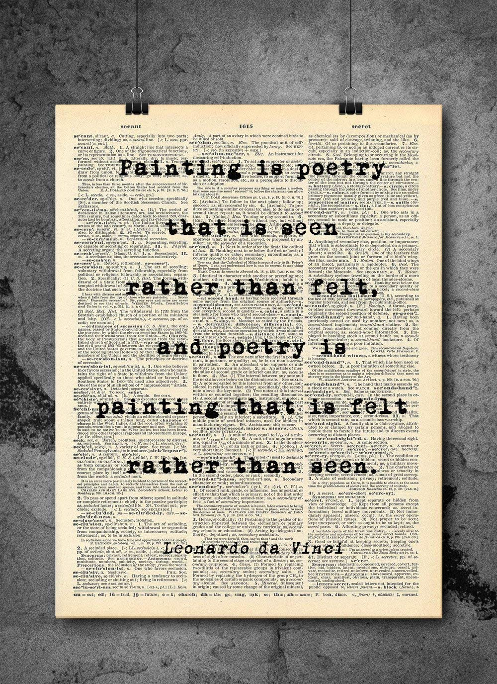 Amazoncom Leonardo Da Vinci Painting Is Poetry Quote