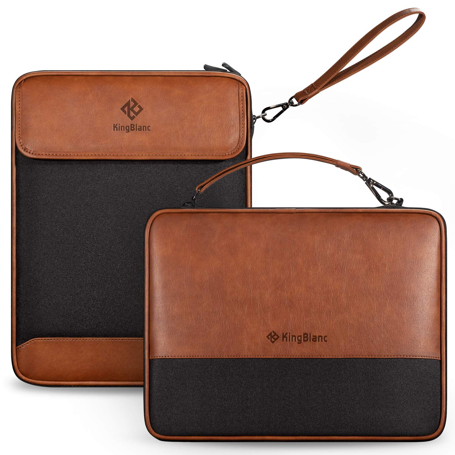 Double-Layer Travel Cable Organizer,PU Leather & Oxford Fabric Electronics Accessories Pouch,Portable Storage Bag for Accessories,USB Cables,Battery,Hard Drive and More