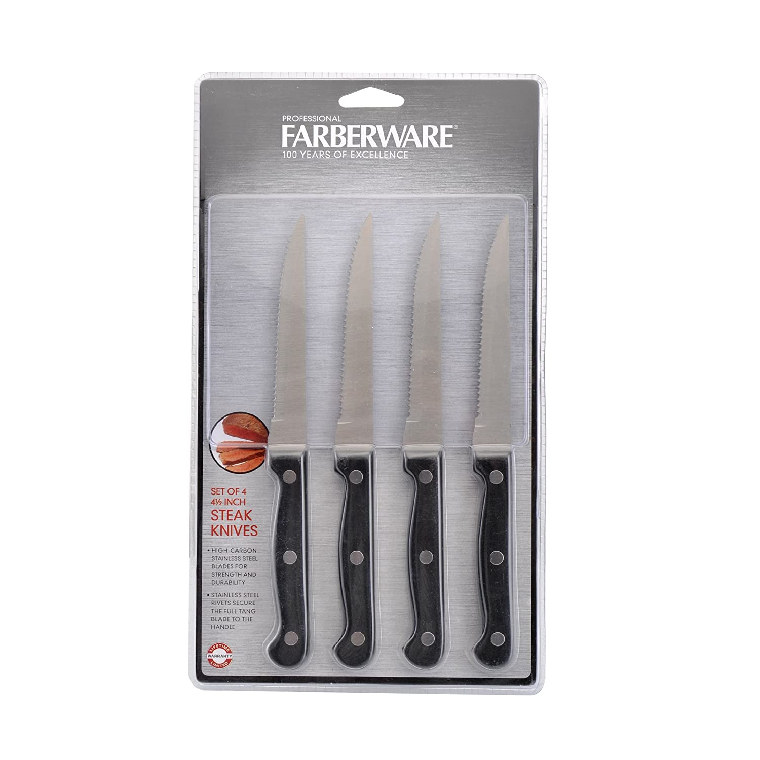 Amazon.com: Farberware juego de 4 con sello Triple remache ...