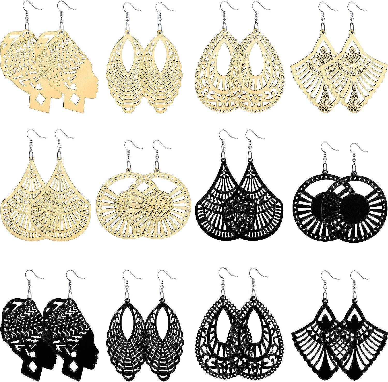 12 Pairs Women African Wooden Drop Earrings Bohemian Lightweight Dangle Earrings with 6 Styles, 2 Colors