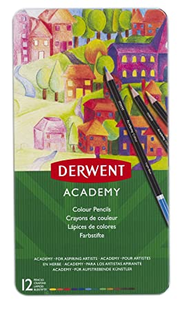 Derwent Academy Colored Pencils, 2 9mm Core, Metal Tin, 12 Count (2301937)
