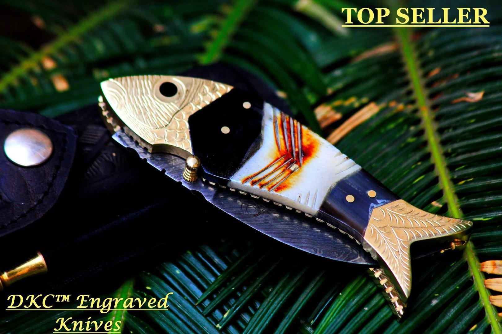 DKC-139 TIGER FISH Bass Trout Fishing Pocket Folding Damascus Hunting Knife Brass & Bone Folded 7.7oz DKC Knives Great Fisherman Gift Bass Fishing Work of Art ! FISHANA SERIES