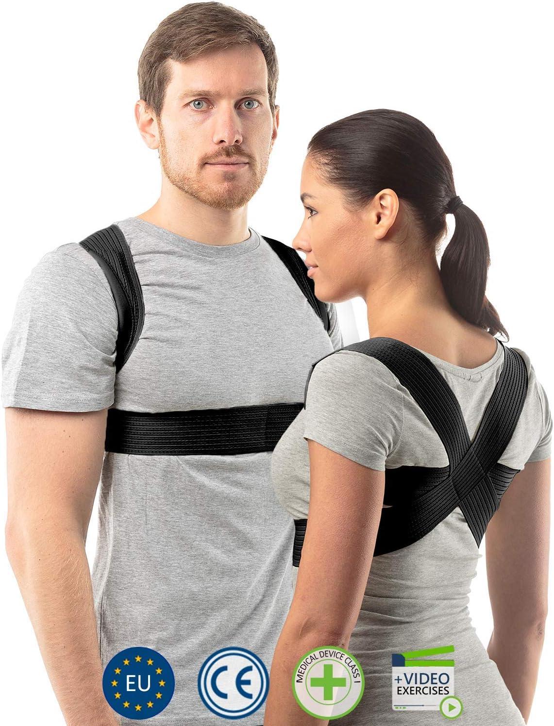 aHeal Corrector de Postura para Hombre y Mujer | Soporte para Corregir la Postura | Corsé Ortopédico para Escoliosis Cifosis | Alivio del Dolor de Espalda y Corrector de Mala Postura | Talla 4 Negro