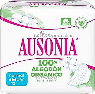 Ausonia Cotton Protection Normal (tamaño 1) Compresas Con Alas, 12, Capa Superior De Algodón 100 % Orgánico: Amazon.es: Salud y cuidado personal