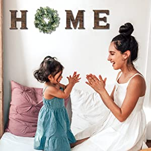 Wooden Home Sign with Wreath Wood Home Hanging Letters for Home Wood Home Sign with Artificial Eucalyptus for O Home Letters with Wreath Rustic Wall Hanging Decor for Living Room House Gift SierTing