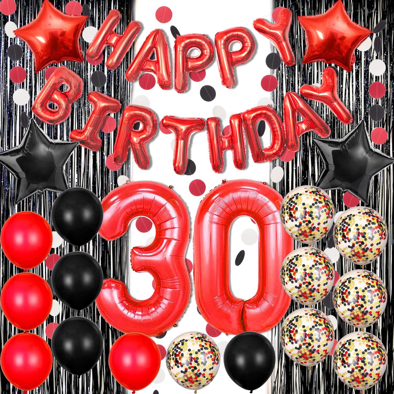 30歳の誕生日デコレーション ブラックとレッド 誕生日バナーバルーン 数字バルーン ペーパーガーランド ブラックとレッドバルーン 紙吹雪バルーン 誕生日パーティーバルーン サプライ   B07S83SM6D