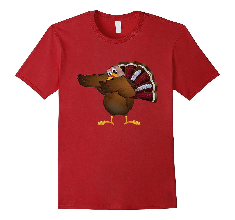 Turkey Dabbing Funny Thanksgiving Tshirt Turkey Dab-ANZ