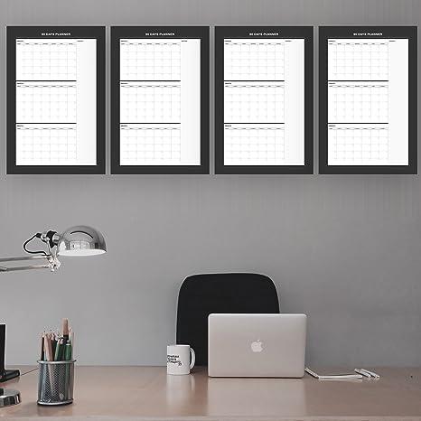 Amazon.com: 4 x 90 días borrable calendario de pared ...