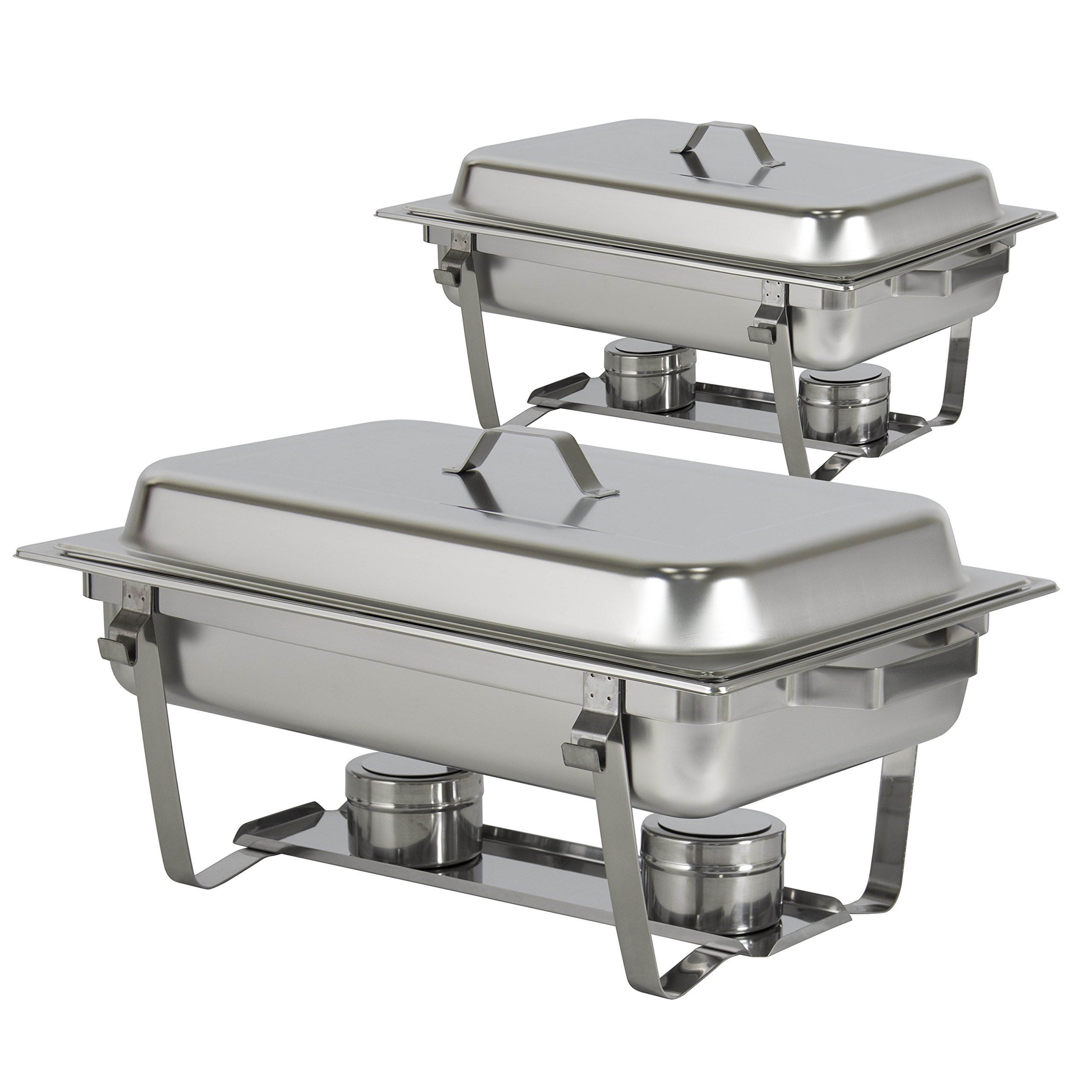 Best Choice Products 8qt Set of 2 Stainless Steel Full Size Tray Buffet Catering Chafing Dishes - Silver