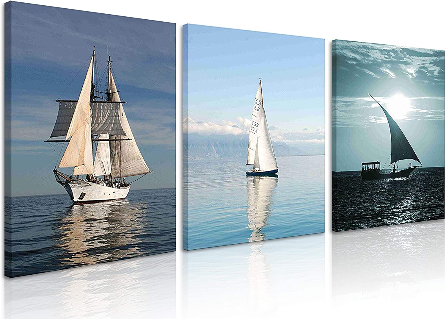 Natural art White Sailing Green Sea Paintings Prints on Canvas Wooden Framed Landscape Wall Art for Wall Decoration Ready to Hang (12x16inx3, White Sailing)