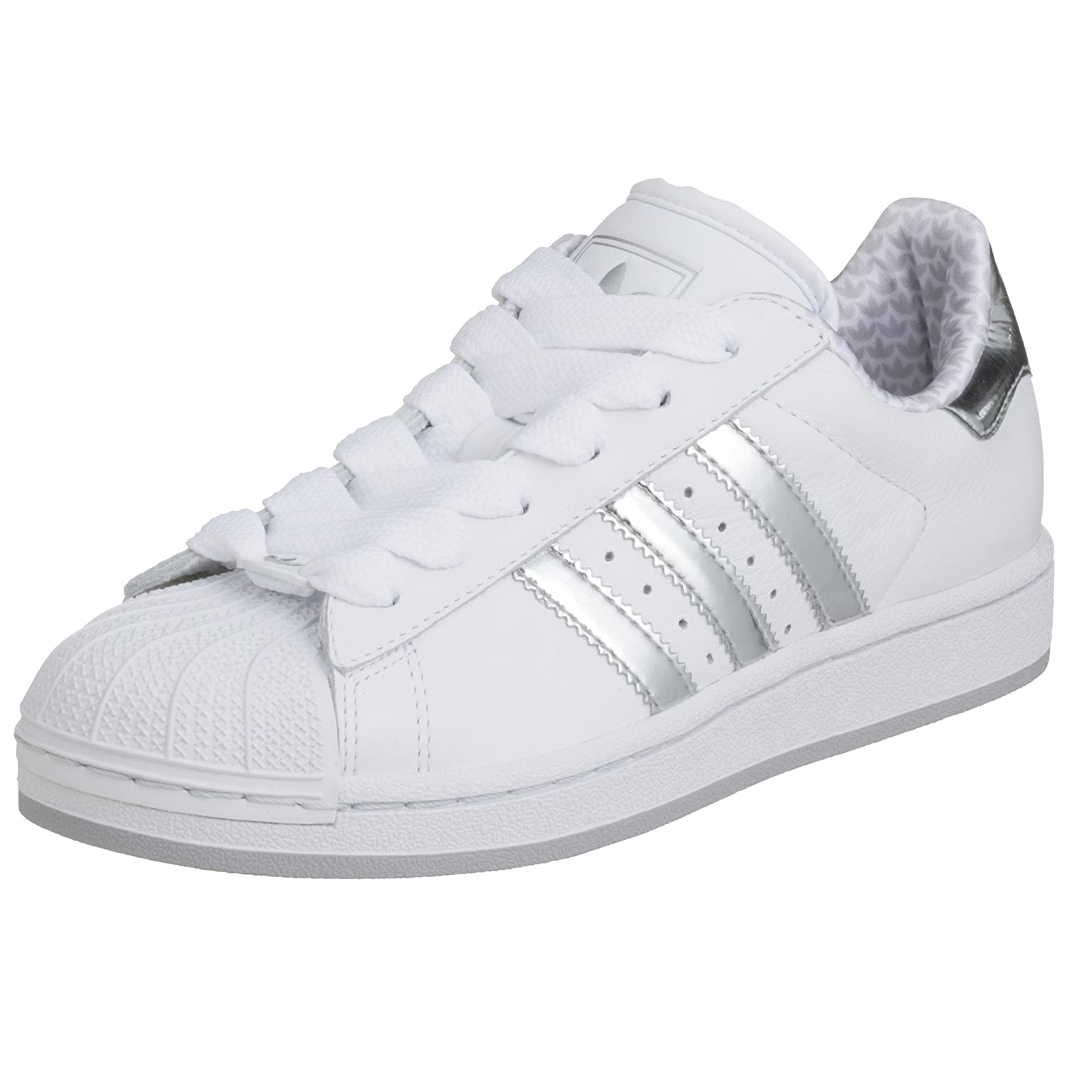 womens white & silver adidas superstar trainers | schuh