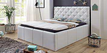 luxus polsterbett mit bettkasten nelly xxl 180x200 cm kunslederbett doppelbett ehebett wei - Doppelbett Luxus