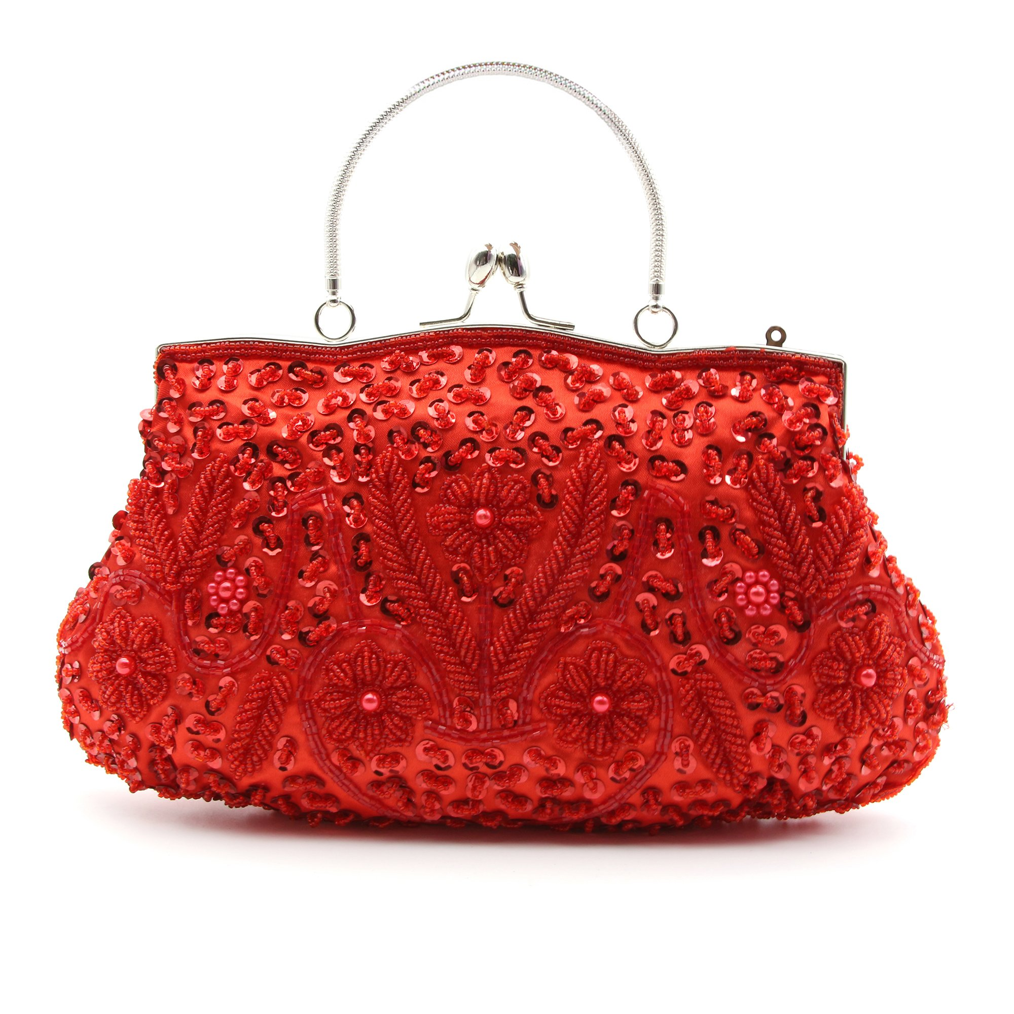 HOTER Antique Floral Seed/Bead/Sequin Soft Exquisite Seed Bead Sequined Leaf Clutch Handbag,Gift Ideas-Colors Various