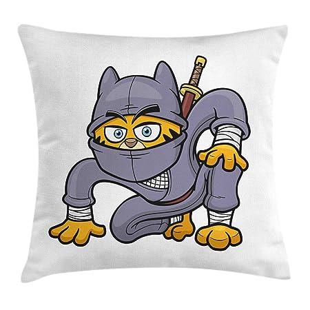 MLNHY Ninja Cat Throw Pillow Cushion Cover, Cartoon Design ...
